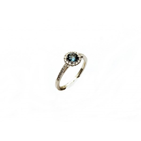 ANILLO TOPACIO LONDON BLUE Y DIAMANTES