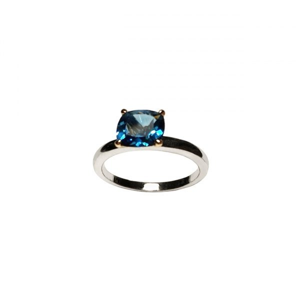 ANILLO DE ORO BLANCO Y TOPACIO LONDON BLUE