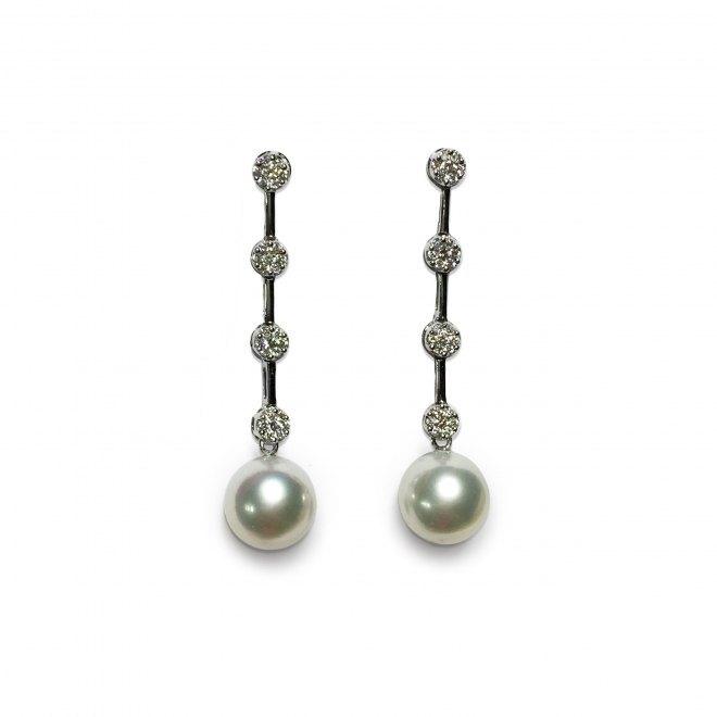 Pendientes ligeramente articulados de oro blanco y brillantes con perlas australianas