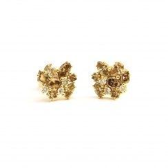 Pendientes de oro amarillo, diamantes brown y brillantes