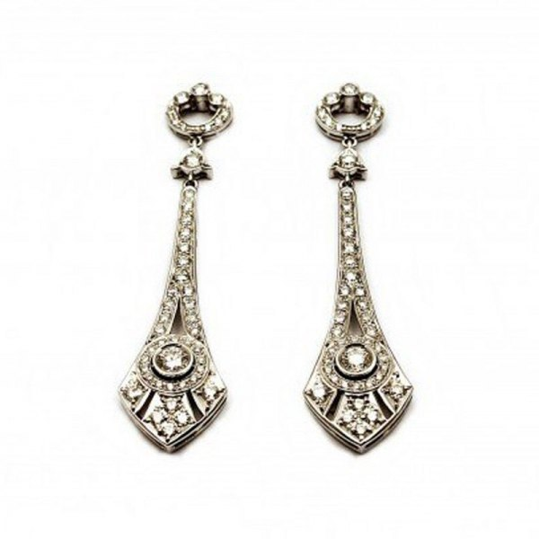 PENDIENTES ART DECO DE ORO BLANCO Y BRILLANTES